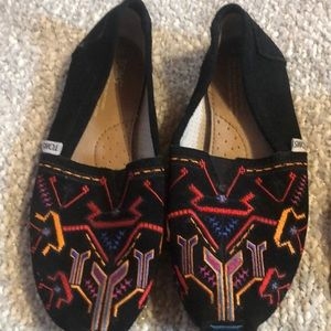 Toms Suede Embroidered Slip Ons